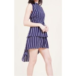 ModCloth Navy Blue White Striped Tiered Dress